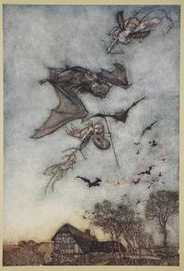 Some War with Rere-Mice for their Leathern Wings by Arthur Rackham