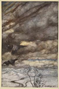 The ravens of Wotan, illustration from 'Siegfried and the Twilight of the Gods', 1924 by Arthur Rackham