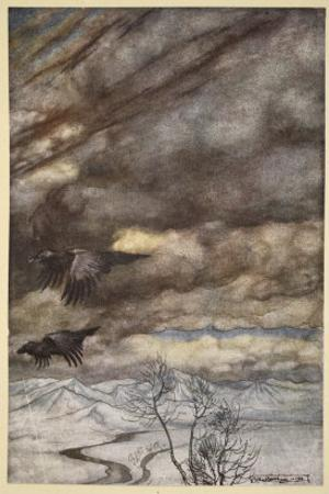 The ravens of Wotan, illustration from 'Siegfried and the Twilight of the Gods', 1924