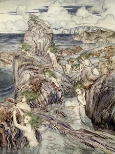They Have Sea-Green Hair, Illustration from 'A Wonder Book for Girls and Boys' by Arthur Rackham