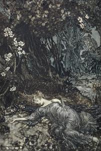 Titania Lying Asleep, Illustration from 'Midsummer Nights Dream' by William Shakespeare, 1908 by Arthur Rackham