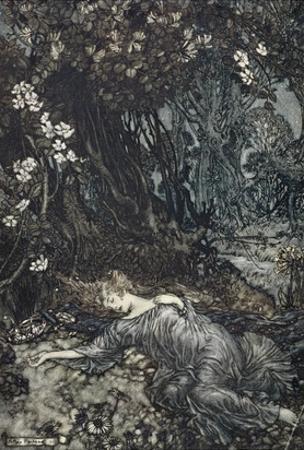 Titania Lying Asleep, Illustration from 'Midsummer Nights Dream' by William Shakespeare, 1908