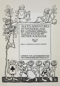 Title Page With a Rose Bush, the White Rabbit and Men Dressed As Cards by Arthur Rackham
