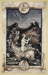 To Hear the Sea-Maids Music, Illustration from 'Midsummer Nights Dream' by William Shakespeare 1908 by Arthur Rackham