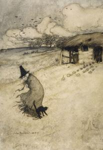 Witch and Cat by Arthur Rackham