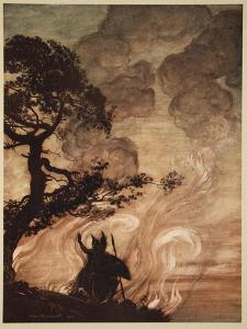 Wotan turns, looks sorrowfully back at Brunnhilde, illustration, 'The Rhinegold and the Valkyrie' by Arthur Rackham