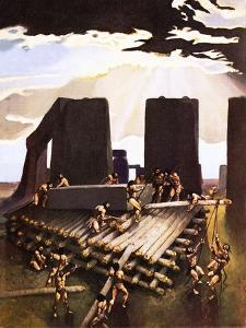 The Building of Stonehenge, an Imagined in 1978 by Arthur Ranson