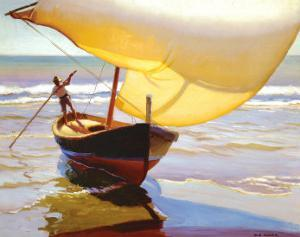 Fishing Boat, Spain by Arthur Rider