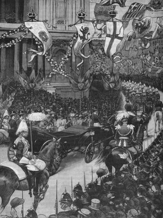 Marriage of the Duke of York: the Royal Procession Passing St Pauls Cathedral, 1893 by Arthur Salmon