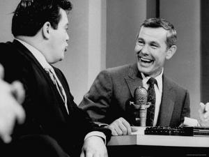 Johnny Carson and Jimmy Breslin Enjoying Conversation During Taping of the Johnny Carson Show by Arthur Schatz