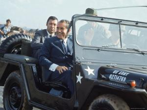President Richard M. Nixon Travelling in Us Army Jeep During Visit to Vietnam by Arthur Schatz