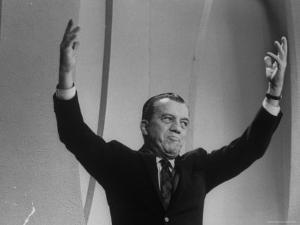 TV Emcee Ed Sullivan Holding His Arms Up, During 20th Anniversary Show by Arthur Schatz