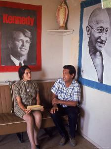 United Farm Workers Leader Cesar Chavez with VP Dolores Heurta During Grape Pickers' Strike by Arthur Schatz