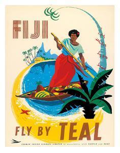 Tasman Empire Airways Limited - Fiji Fly by TEAL - Fijian Native Poles a Canoe by Arthur Thompson