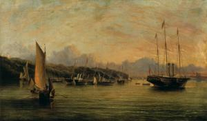 The Arrival of Queen Victoria at Cowes,Isle of Wight, with Osborne House Beyond by Arthur Wellington Fowles