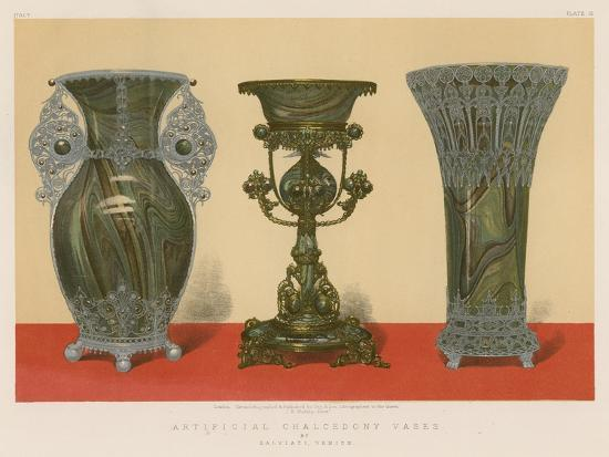 Artificial Chalcedony Vases by Salviati, Venice--Giclee Print