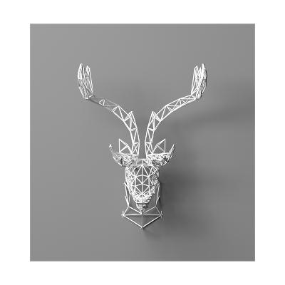 Artificial Deer Head Hanging on the Wall. Polygonal Head of A- whitecityrecords-Art Print
