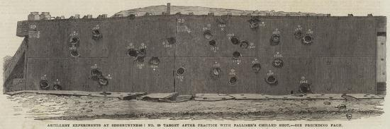 Artillery Experiments at Shoeburyness, No 29 Target after Practice with Palliser's Chilled Shot--Giclee Print