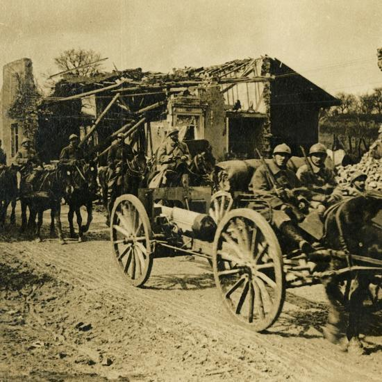 Artillery passing through Beauzée, northern France, c1914-c1918-Unknown-Photographic Print