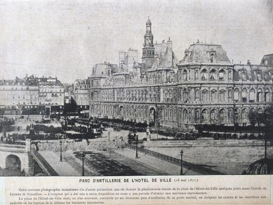 Artillery Pieces Lined Up Outside the Hotel De Ville, Paris, 16 May 1871--Giclee Print