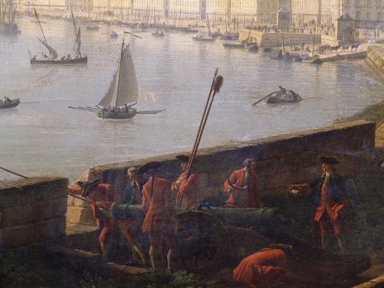 Artillery Post in Bordeaux Port, 1759-Claude Joseph Vernet-Giclee Print