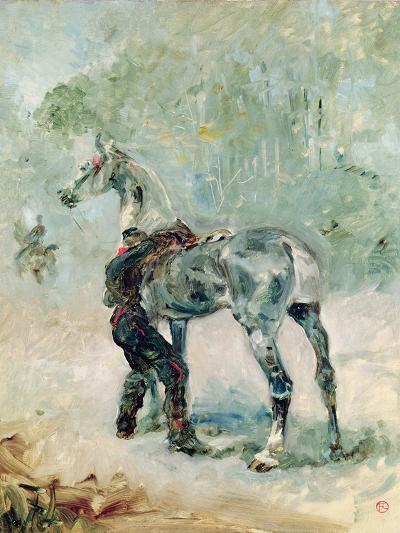 Artilleryman Saddling His Horse, 1879-Henri de Toulouse-Lautrec-Giclee Print