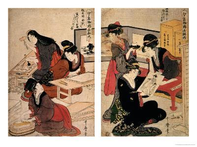 Artisans Making a Woodcut, circa 1857 (Coloured Woodblock)-Utagawa Kunisada-Giclee Print