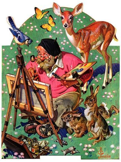 """Artist and Animals,""May 26, 1934-Joseph Christian Leyendecker-Giclee Print"