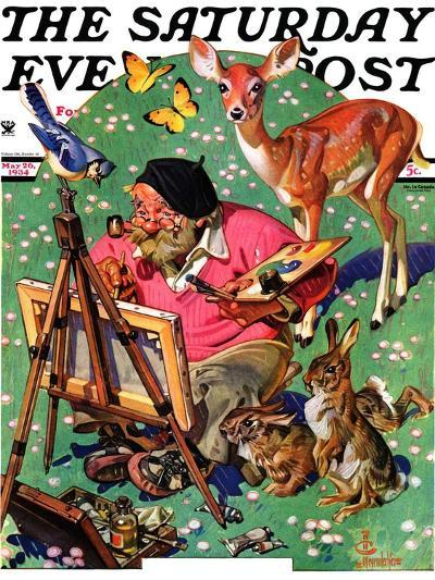 """""""Artist and Animals,"""" Saturday Evening Post Cover, May 26, 1934-Joseph Christian Leyendecker-Giclee Print"""
