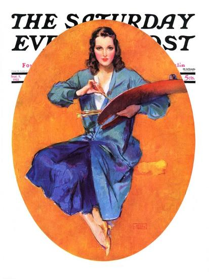 """Artist and Her Palette,"" Saturday Evening Post Cover, September 9, 1933-John LaGatta-Giclee Print"