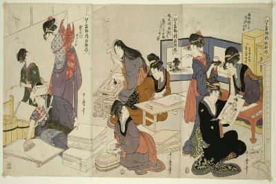 Artist, Block Carver, Applying Sizing, C.1803-Kitagawa Utamaro-Giclee Print