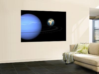 Artist' Concept of Neptune and Earth-Stocktrek Images-Wall Mural