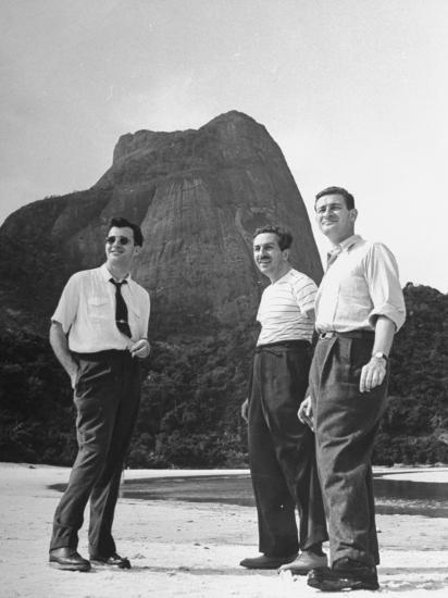 Artist Franklin Thomas Standing with Walt Disney on Brazilian Beach--Photographic Print