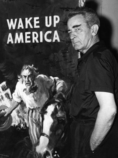 Artist James Montgomery Flagg Stands Next to His Wake Up America Committee Poster, August 16, 1940--Photo
