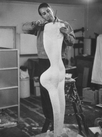 Artist James Rosati Working on a Sculpture in His Studio on East 10th St