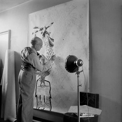 Artist Jean Lurcat Creating Tapestry. Paris, France June 1946-Ralph Morse-Photographic Print