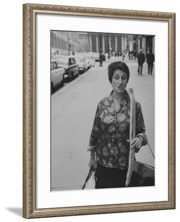 Artist Jeanne Modigliani with Bread She Just Got from the Bakery-Ralph Crane-Framed Photographic Print