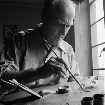 Artist Lyonel Feininger at Work-Andreas Feininger-Premium Photographic Print