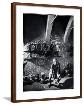 """Artist Pablo Picasso """"Painting"""" with Light at the Madoura Pottery-Gjon Mili-Framed Premium Photographic Print"""