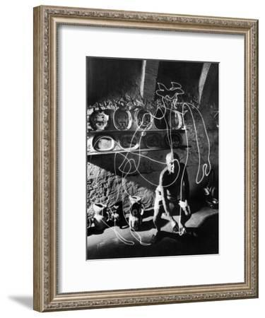 """Artist Pablo Picasso """"Painting"""" with Light at the Madoura Pottery--Framed Premium Photographic Print"""
