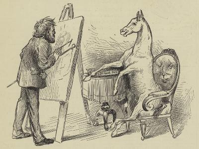 Artist Painting Horse--Giclee Print