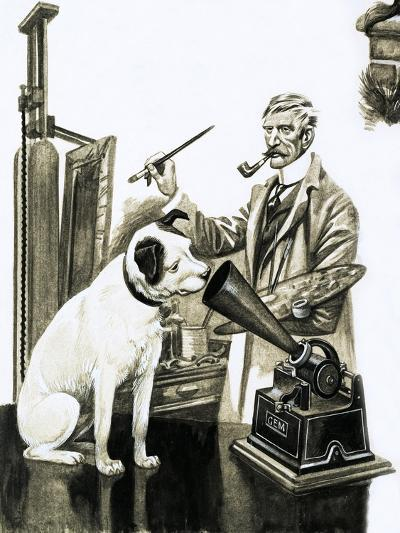 Artist Painting the Dog Listening at a Gramaphone-Peter Jackson-Giclee Print