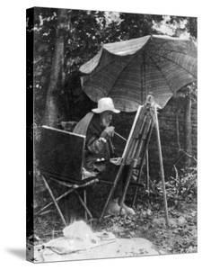 Artist Pierre Auguste Renoir Painting with Brush Tied to His Arthritic Hand, Last Days of His Life