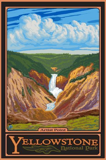 Artist Point, Yellowstone National Park, Wyoming-Lantern Press-Wall Mural