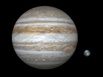 Artist's Concept Comparing the Size of the Gas Giant Jupiter with That of the Earth-Stocktrek Images-Photographic Print