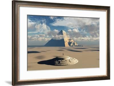 Artist's Concept Illustrating How Aliens Helped to Build Ancient Egyptian Monuments-Stocktrek Images-Framed Art Print