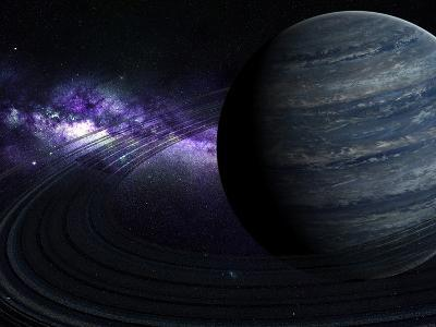 Artist's Concept of a Blue Ringed Gas Giant in Front of a Galaxy-Stocktrek Images-Photographic Print