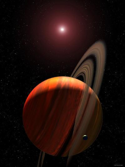 Artist's Concept of a Gas Giant Planet Orbiting a Red Dwarf K Star-Stocktrek Images-Photographic Print
