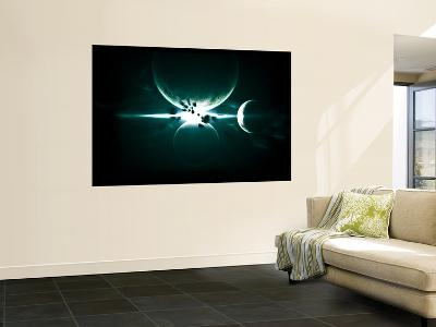 Artist's Concept of a Planet and its 3 Moons Aligned in a Perfect and Symmetrical Formation-Stocktrek Images-Wall Mural
