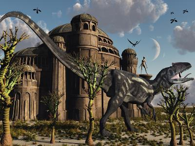 Artist's Concept of a Reptoid Race Whom Co-Existed Alongside the Dinosaurs-Stocktrek Images-Photographic Print